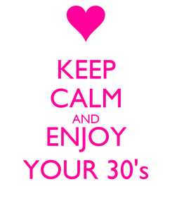 Poster: KEEP CALM AND ENJOY YOUR 30's
