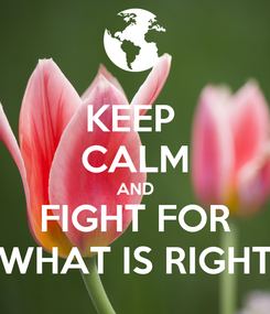 Poster: KEEP  CALM AND FIGHT FOR WHAT IS RIGHT
