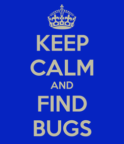 Poster: KEEP CALM AND FIND BUGS