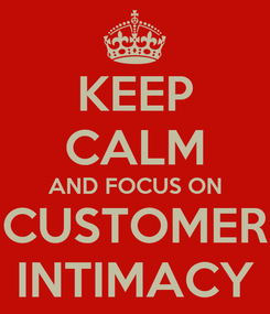 Poster: KEEP CALM AND FOCUS ON CUSTOMER INTIMACY