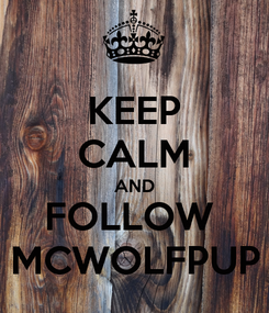 Poster: KEEP CALM AND FOLLOW  MCWOLFPUP