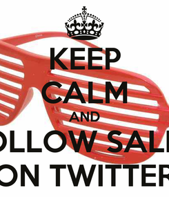 Poster: KEEP CALM AND FOLLOW SALLY ON TWITTER
