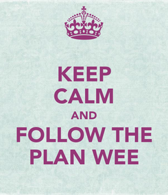 Poster: KEEP CALM AND FOLLOW THE PLAN WEE