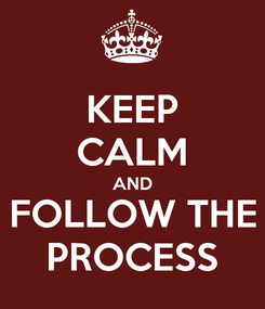 Poster: KEEP CALM AND FOLLOW THE PROCESS