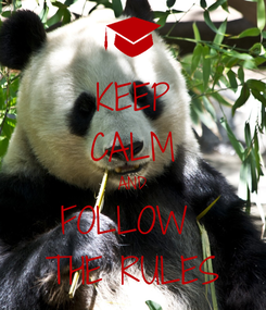 Poster: KEEP CALM AND FOLLOW  THE RULES