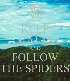 Poster: KEEP CALM AND FOLLOW THE SPIDERS