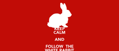 Poster: KEEP CALM AND FOLLOW  THE WHITE RABBIT