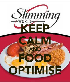 Poster: KEEP CALM AND FOOD OPTIMISE