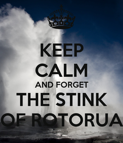 Poster: KEEP CALM AND FORGET  THE STINK  OF ROTORUA