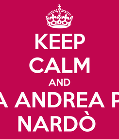 Poster: KEEP CALM AND FORZA ANDREA PASCA NARDÒ