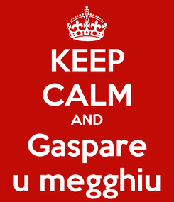 Poster: KEEP CALM AND Gaspare u megghiu