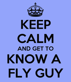 Poster: KEEP CALM AND GET TO KNOW A  FLY GUY