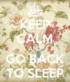 Poster: KEEP CALM AND GO BACK TO SLEEP