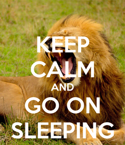 Poster: KEEP CALM AND GO ON SLEEPING