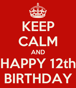 Poster: KEEP CALM AND HAPPY 12th BIRTHDAY