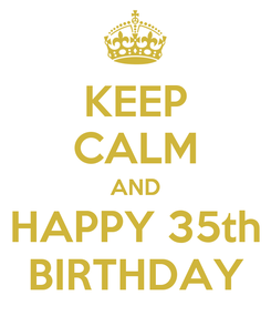 Poster: KEEP CALM AND HAPPY 35th BIRTHDAY