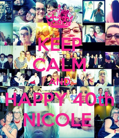 Poster: KEEP CALM AND HAPPY 40th NICOLE