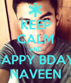 Poster: KEEP CALM AND HAPPY BDAY  NAVEEN