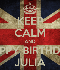 Poster: KEEP CALM AND HAPPY BIRTHDAY JULIA
