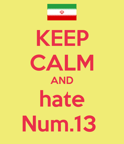 Poster: KEEP CALM AND hate Num.13