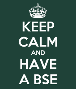 Poster: KEEP CALM AND HAVE A BSE