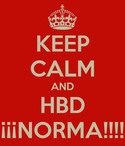 Poster: KEEP CALM AND HBD ¡¡¡NORMA!!!!