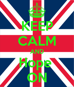 Poster: KEEP CALM AND Hope  ON