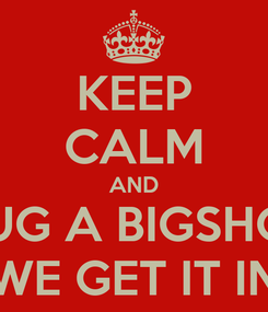 Poster: KEEP CALM AND HUG A BIGSHOT WE GET IT IN