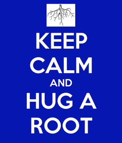 Poster: KEEP CALM AND HUG A ROOT