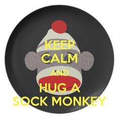 Poster: KEEP CALM AND HUG A SOCK MONKEY