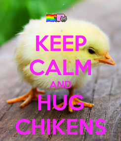 Poster: KEEP CALM AND HUG CHIKENS