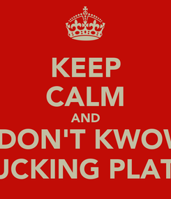Poster: KEEP CALM AND I DON'T KWOW THE FUCKING PLATFORM