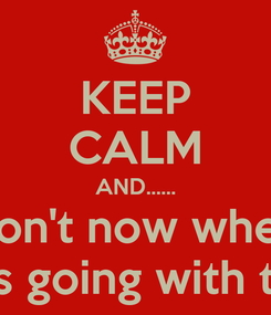 Poster: KEEP CALM AND...... I don't now where I was going with this...
