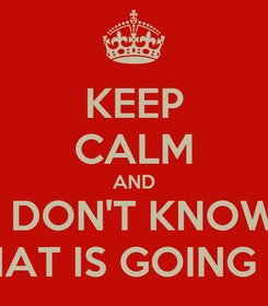 Poster: KEEP CALM AND I DON'T KNOW WHAT IS GOING ON