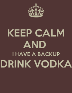 Poster: KEEP CALM AND  I HAVE A BACKUP DRINK VODKA