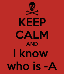 Poster: KEEP CALM AND I know  who is -A