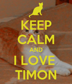 Poster: KEEP CALM AND I LOVE  TIMON