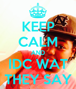 Poster: KEEP CALM AND IDC WAT THEY SAY