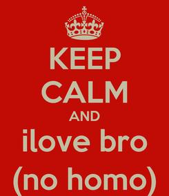 Poster: KEEP CALM AND ilove bro (no homo)