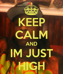 Poster: KEEP CALM AND IM JUST HIGH