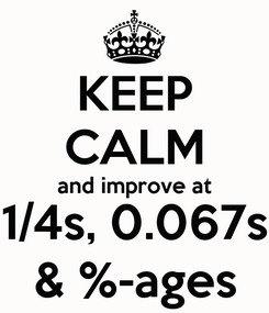 Poster: KEEP CALM and improve at 1/4s, 0.067s & %-ages