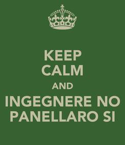 Poster: KEEP CALM AND INGEGNERE NO PANELLARO SI