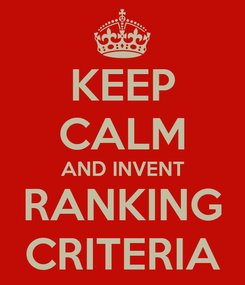 Poster: KEEP CALM AND INVENT RANKING CRITERIA