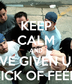 Poster: KEEP CALM AND I'VE GIVEN UP  I'M SICK OF FEELING!