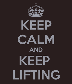 Poster: KEEP CALM AND KEEP  LIFTING