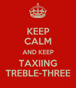 Poster: KEEP CALM AND KEEP TAXIING TREBLE-THREE