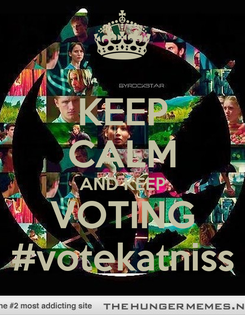 Poster: KEEP CALM AND KEEP VOTING #votekatniss