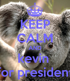 Poster: KEEP CALM AND kevin  for president