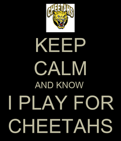 Poster: KEEP CALM AND KNOW  I PLAY FOR CHEETAHS