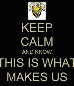 Poster: KEEP CALM AND KNOW THIS IS WHAT MAKES US